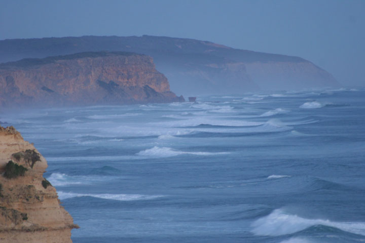 Great Ocean Road coastline in the mist